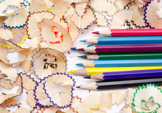 Color pencils with wood Royalty Free Stock Photos