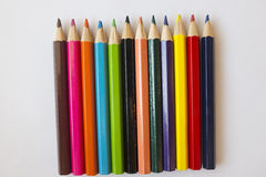Color pencils. 12 color wooden pencils Royalty Free Stock Images