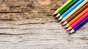 Color Pencils on wooden Royalty Free Stock Photos