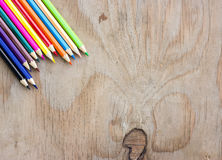 Color Pencils on wooden Royalty Free Stock Photo