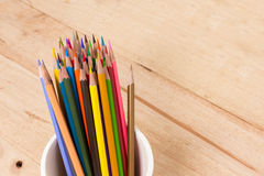 Color pencils on wooden background Stock Image