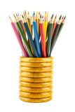 Color pencils in wooden holder Royalty Free Stock Photo