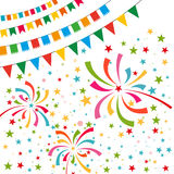 Color pennant bunting with color firework. Color pennant bunting collection triangular and square red, yellow, blue, green, orange colors on white background Royalty Free Stock Image