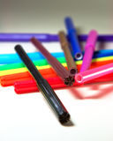 Color pens. Colorful pens on white background stock photos