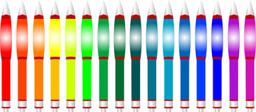 Color pens all the colors of the the rainbow. Isol Stock Image