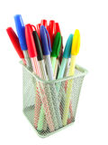 Color pens in a basket. Isolated on White background Royalty Free Stock Photo