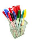 Color pens in a basket. Magic color pens in a basket squre aluminiums on white background Stock Photography