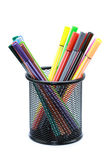 Color pens in container Royalty Free Stock Photos