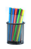 Color pens in container Royalty Free Stock Image