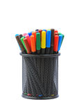 Color pens in container Royalty Free Stock Images