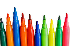 Color pens on white Royalty Free Stock Images