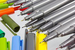 Color pens. On White Background Stock Photos