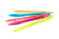 Color pens on white background Royalty Free Stock Photos