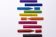 Color Pens on White Background Royalty Free Stock Image