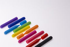 Color Pens on White Background Stock Photography