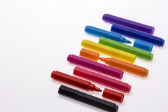 Color Pens on White Background Royalty Free Stock Photography