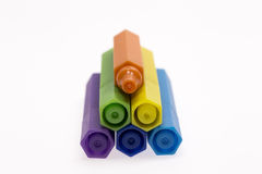 Color Pens on White Background Royalty Free Stock Photo