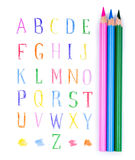 Color pensils and alphabet Stock Photo