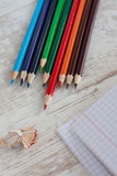 Color pensils. On the table royalty free stock photography