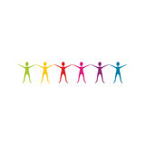 color people with hands up icon Stock Photography