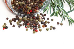 Color peppercorns in glass jar Royalty Free Stock Photography