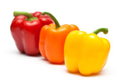 Color peppers in a row Stock Photo