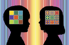 Color Perception of Children. Boy and girls develop different color preferences in early childhood Royalty Free Stock Images