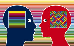 Color Perception. Man and women perceive colors in different intensity Royalty Free Stock Photo