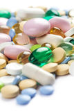 Color pharmaceutical pills and capsules Royalty Free Stock Photo