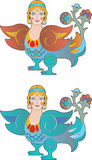 Color phoenix girl Royalty Free Stock Images