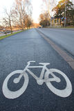 Bicycle path. Color photo of an asphalt bicycle path in the city Stock Image