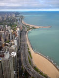Chicago Gold Coast. Color photo of Chicago's Gold Coast, Lincoln Park, and Lake Michigan as seen from the John Hancock Observatory stock image
