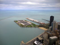 Chicago Gold Coast. Color photo of Chicago's Navy Pier and Lake Michigan as seen from the John Hancock Observatory Stock Images