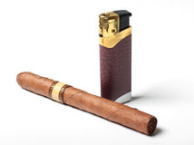 Cigar and cigarette lighters Royalty Free Stock Photos