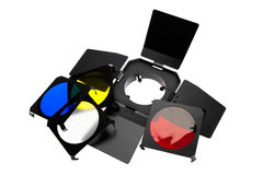 Color photo lighting equipment and filters Stock Photo