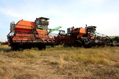 Color photo of old combine harvesters. Royalty Free Stock Photos