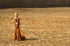 Pretty young blonde female lady in field in upstate ny stock image