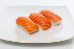Red sushi on plate Stock Image