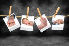 Color Photos of a Baby Boy Hanging on a Rope Royalty Free Stock Photography