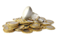 Color photos of coins and an electric lamp Stock Image