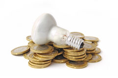 Color photos of coins and an electric lamp Stock Photo