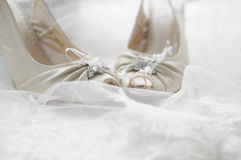 Color photos of wedding shoes Royalty Free Stock Photo