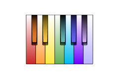 Color Piano Keys. Vector Illustration of Colored Piano Keys (gradients are editable blends Stock Photo