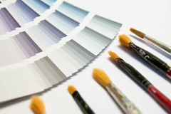 Color picker with brush. Color picker detail with many different colors to choice Royalty Free Stock Photo