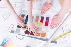Color picker on a drafting table Royalty Free Stock Photography