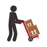 Color pictogram with messenger and hand truck with boxes Royalty Free Stock Image