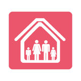 Color pictogram square with family in home Royalty Free Stock Photography