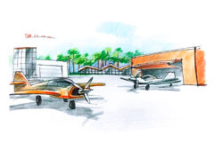 Color picture of an aerodrome. Sketch of an airfield for small aircraft with planes and hangar Royalty Free Stock Photo