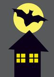 Color picture of black bat, house and full moon Royalty Free Stock Images