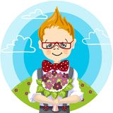 1st september, color hand paint draw of smile school boy glasses who wants to give a bouquet flowers to his teacher at. Color picture cartoon character of a Royalty Free Illustration